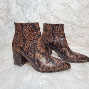 Brown snakeskin ankle boots size 8.5